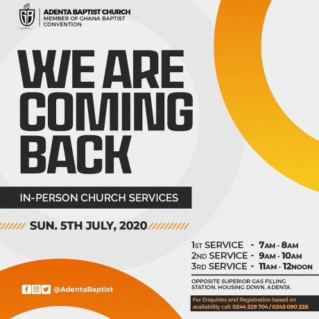 We Are Back To church - In Person